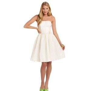 Lily Pulitzer Kerry strapless gold white dress